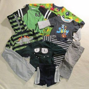Boys 12M Play Clothes Stripes & Dinosaurs 9 pieces
